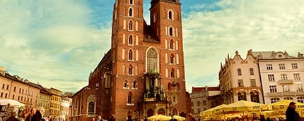The famous Polish Town Hall Tower in the Krakow main square.