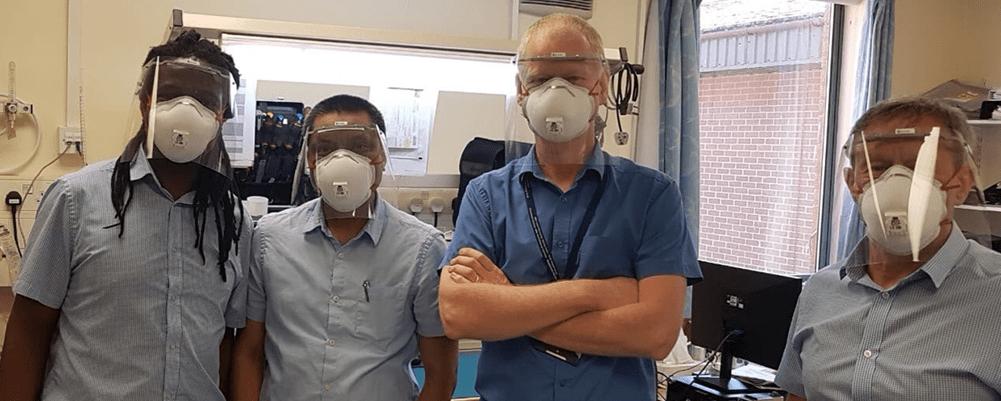 NHS staff wearing Kontroltek face shields and face masks during coronavirus.