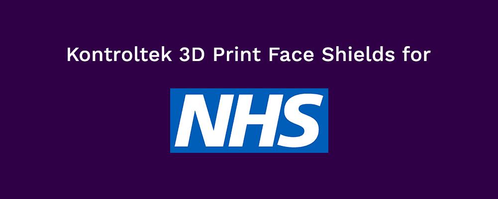 Blog head saying Kontroltek 3D print face shields for the NHS.