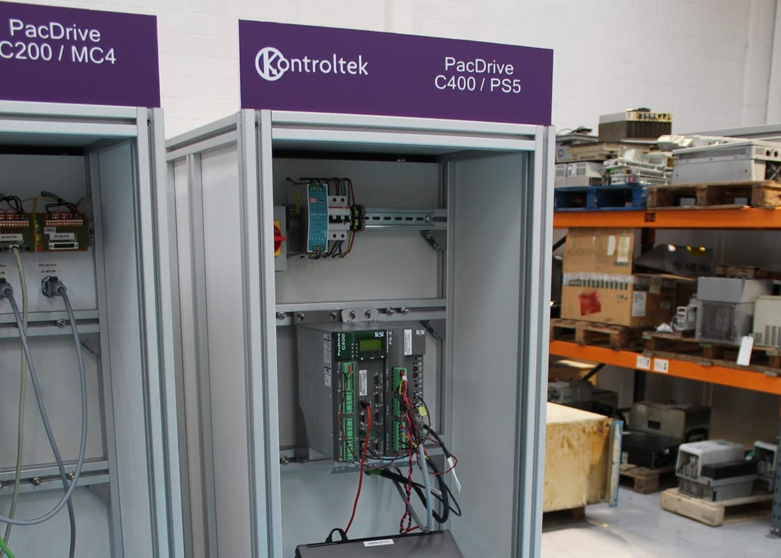 Kontroltek PacDrive C200/MC4 and C400/PS5 test rigs in Bridgend workshop.